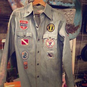 Vtg Levi's Denim Shirt Jacket 50668-3914 Divers LG